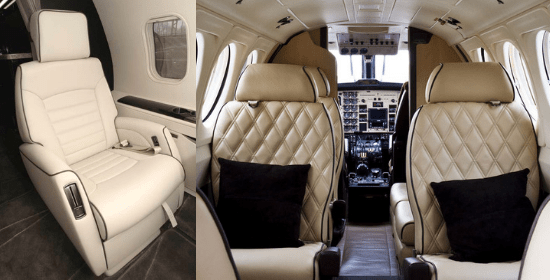 Aircraft seating for private jet