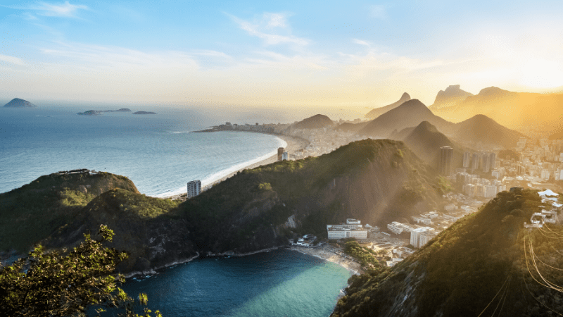 THE MOST BEAUTIFUL PLACES TO VISIT IN THE WORLD BY PRIVATE JET AFTER COVID-19 - Brazil, Aerial view of Rio de Janeiro Coast with Copacabana and Praia Vermelha beach at sunset - Rio de Janeiro, Brazil